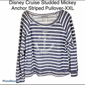 Disney Cruise Striped Mickey Anchor Pullover-2X